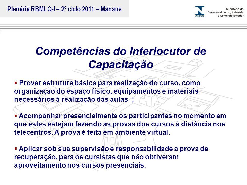 Marca do evento Competências do Interlocutor de Capacitação  Prover estrutura básica para realização do curso, como organização do espaço físico, equ