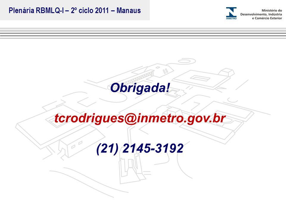 Marca do evento Obrigada! tcrodrigues@inmetro.gov.br (21) 2145-3192 Plenária RBMLQ-I – 2º ciclo 2011 – Manaus