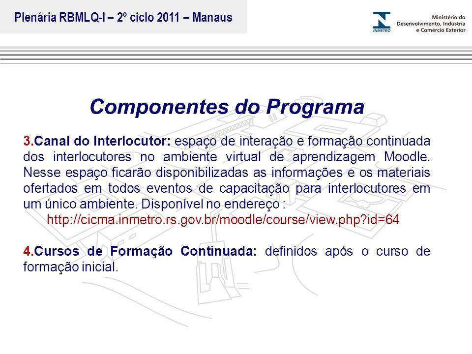 Marca do evento Componentes do Programa 3.Canal do Interlocutor: espaço de interação e formação continuada dos interlocutores no ambiente virtual de a