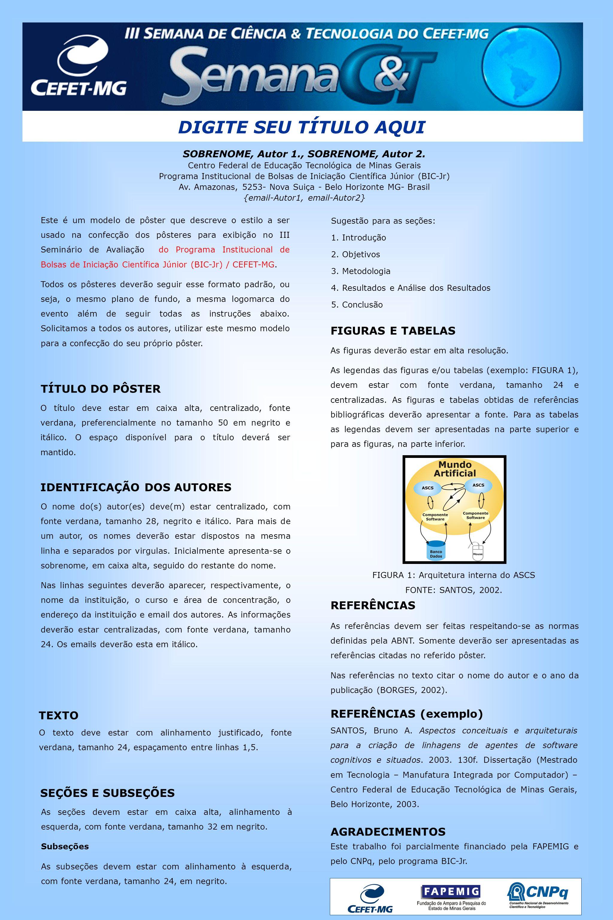 DIGITE SEU TÍTULO AQUI SOBRENOME, Autor 1., SOBRENOME, Autor 2. Centro Federal de Educação Tecnológica de Minas Gerais Programa Institucional de Bolsa
