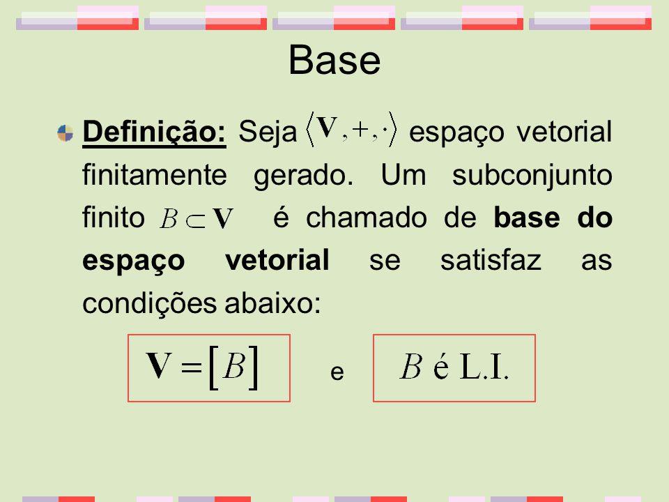 Base Definição: Seja espaço vetorial finitamente gerado. Um subconjunto finito é chamado de base do espaço vetorial se satisfaz as condições abaixo: e