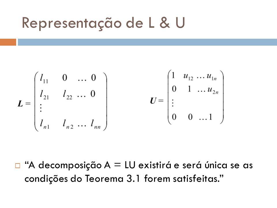 """Representação de L & U  """"A decomposição A = LU existirá e será única se as condições do Teorema 3.1 forem satisfeitas."""""""