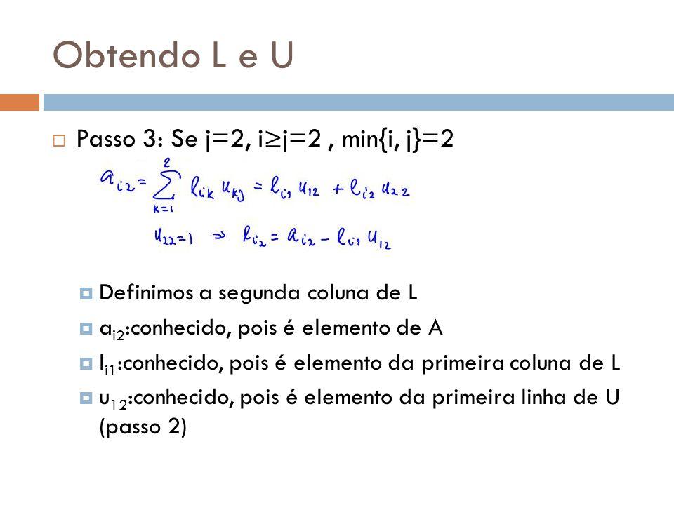 Obtendo L e U  Passo 3: Se j=2, i≥j=2, min{i, j}=2  Definimos a segunda coluna de L  a i2 :conhecido, pois é elemento de A  l i1 :conhecido, pois é elemento da primeira coluna de L  u 12 :conhecido, pois é elemento da primeira linha de U (passo 2)