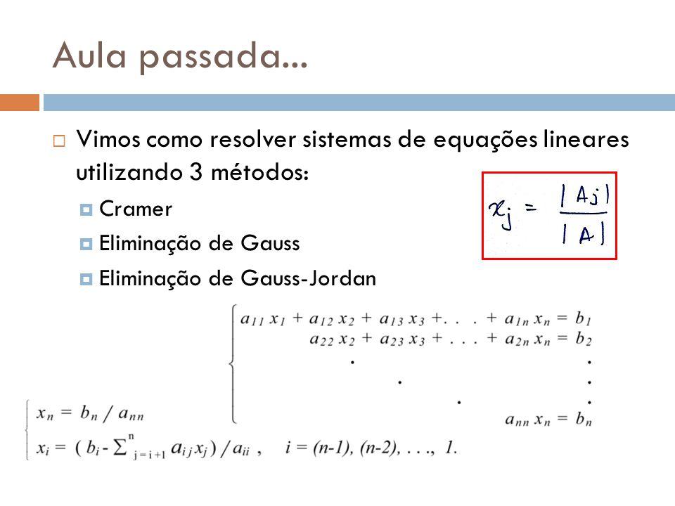 Aula passada...  Vimos como resolver sistemas de equações lineares utilizando 3 métodos:  Cramer  Eliminação de Gauss  Eliminação de Gauss-Jordan