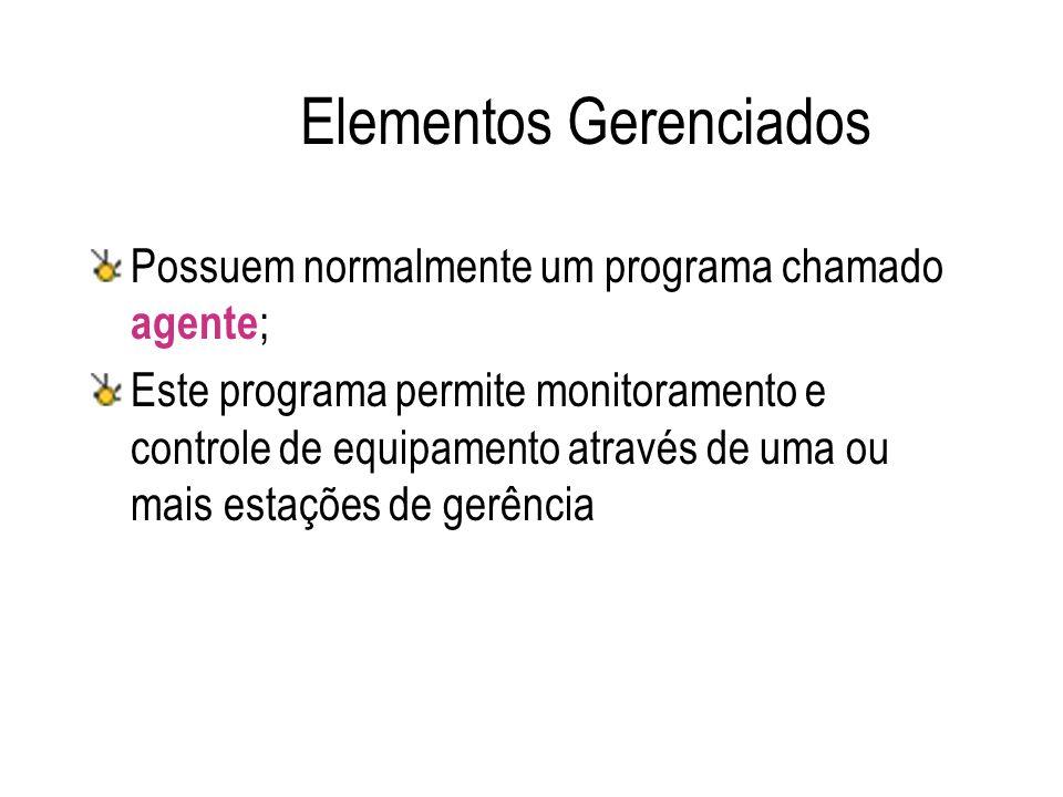 Elementos Gerenciados Possuem normalmente um programa chamado agente ; Este programa permite monitoramento e controle de equipamento através de uma ou