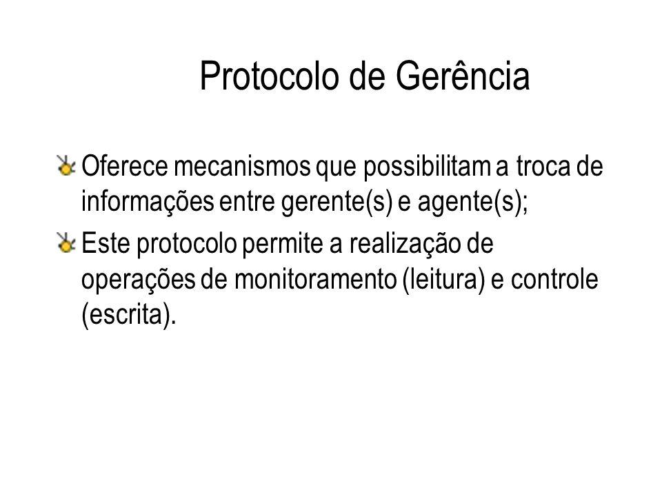 Protocolo de Gerência Oferece mecanismos que possibilitam a troca de informações entre gerente(s) e agente(s); Este protocolo permite a realização de