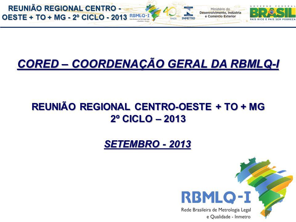 REUNIÃO REGIONAL CENTRO - OESTE + TO + MG - 2º CICLO - 2013 CORED – COORDENAÇÃO GERAL DA RBMLQ-I REUNIÃO REGIONAL CENTRO-OESTE + TO + MG 2º CICLO – 2013 SETEMBRO - 2013