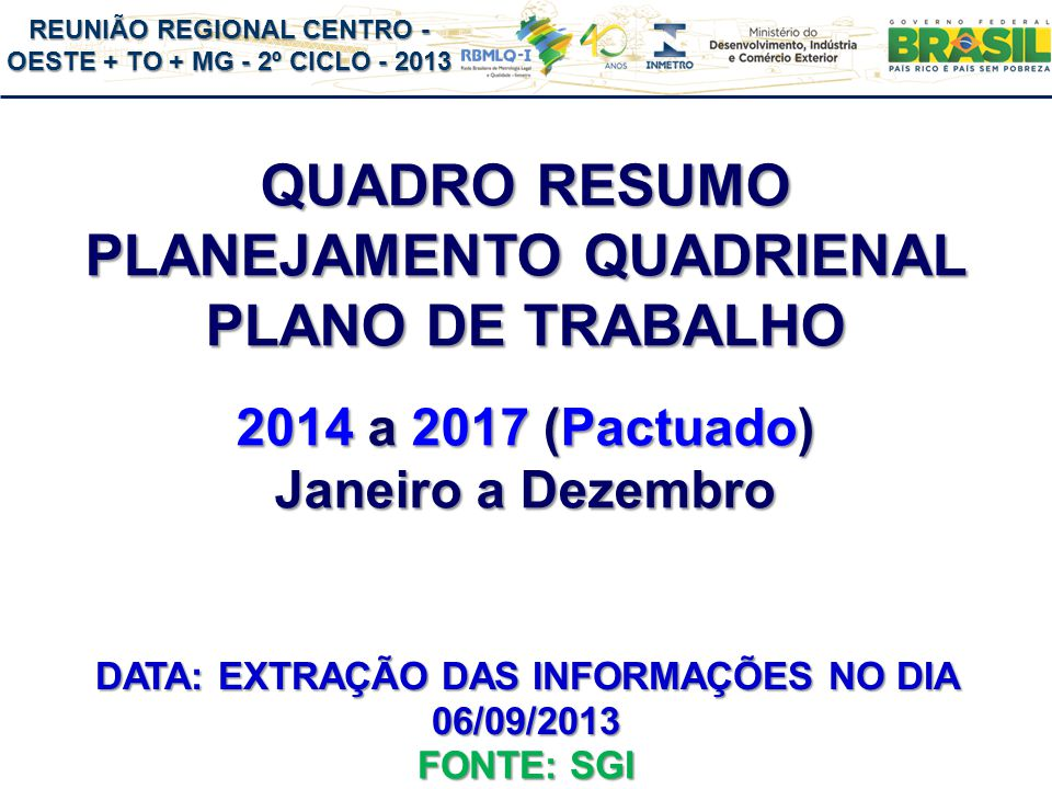 REUNIÃO REGIONAL CENTRO - OESTE + TO + MG - 2º CICLO - 2013 QUADRO RESUMO PLANEJAMENTO QUADRIENAL PLANO DE TRABALHO 2014 a 2017 (Pactuado) Janeiro a Dezembro FONTE: SGI DATA: EXTRAÇÃO DAS INFORMAÇÕES NO DIA 06/09/2013