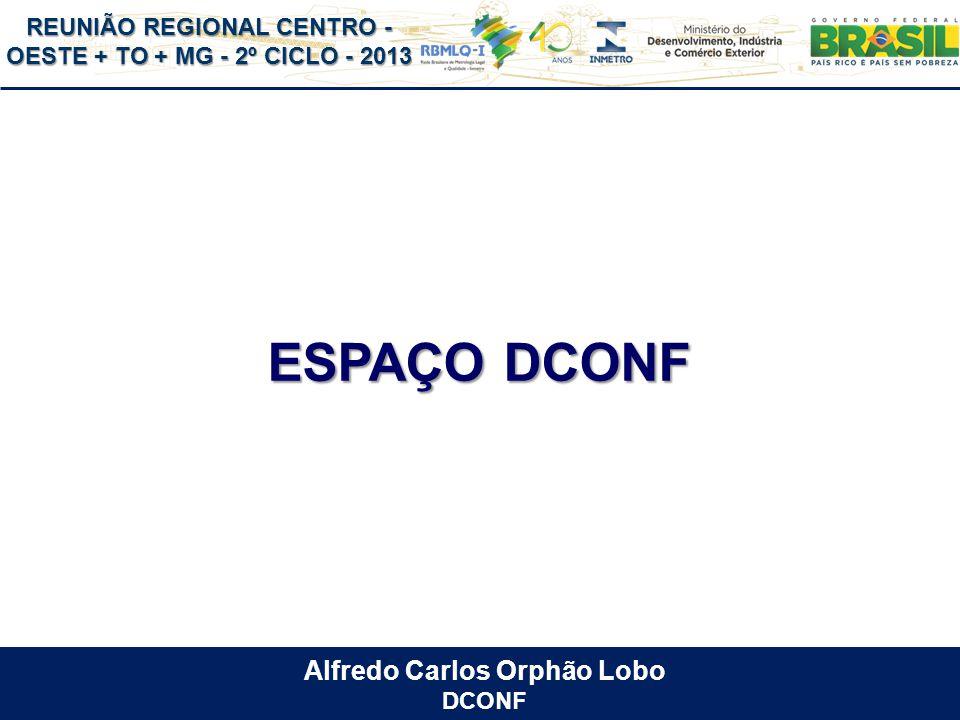 REUNIÃO REGIONAL CENTRO - OESTE + TO + MG - 2º CICLO - 2013 ESPAÇO DCONF Alfredo Carlos Orphão Lobo DCONF