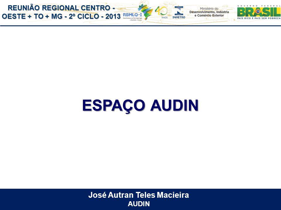REUNIÃO REGIONAL CENTRO - OESTE + TO + MG - 2º CICLO - 2013 ESPAÇO AUDIN José Autran Teles Macieira AUDIN