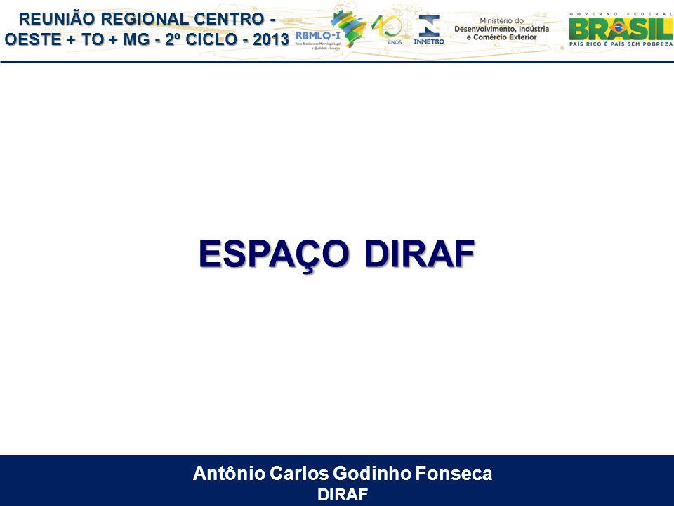 REUNIÃO REGIONAL CENTRO - OESTE + TO + MG - 2º CICLO - 2013 ESPAÇO DIRAF Antônio Carlos Godinho Fonseca DIRAF