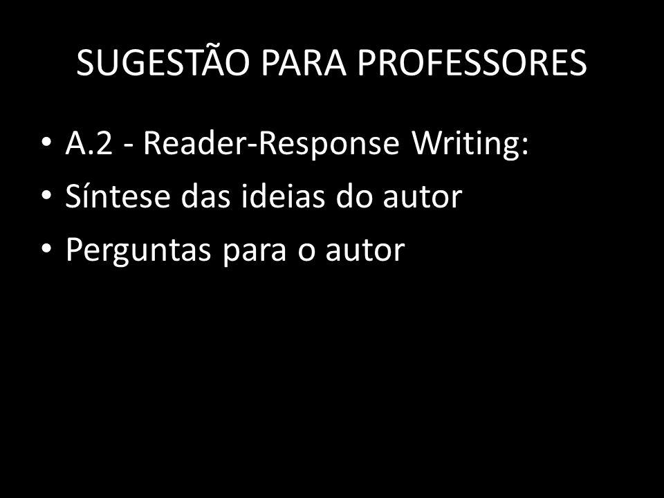 SUGESTÃO PARA PROFESSORES A.2 - Reader-Response Writing: Síntese das ideias do autor Perguntas para o autor