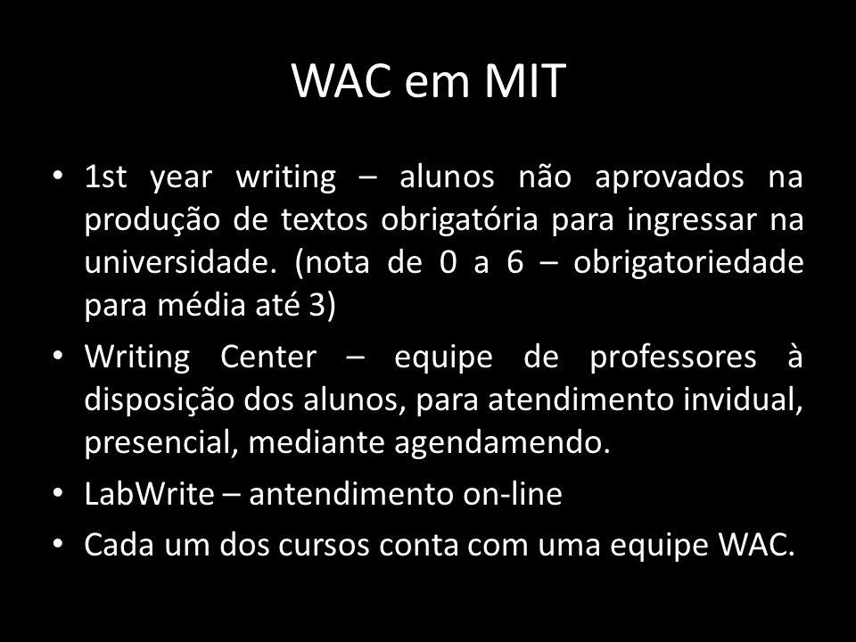 WAC em MIT 1st year writing – alunos não aprovados na produção de textos obrigatória para ingressar na universidade.