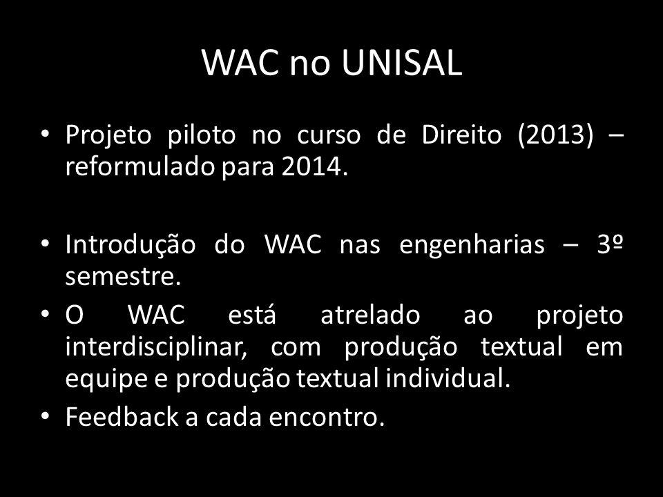 WAC no UNISAL Projeto piloto no curso de Direito (2013) – reformulado para 2014.