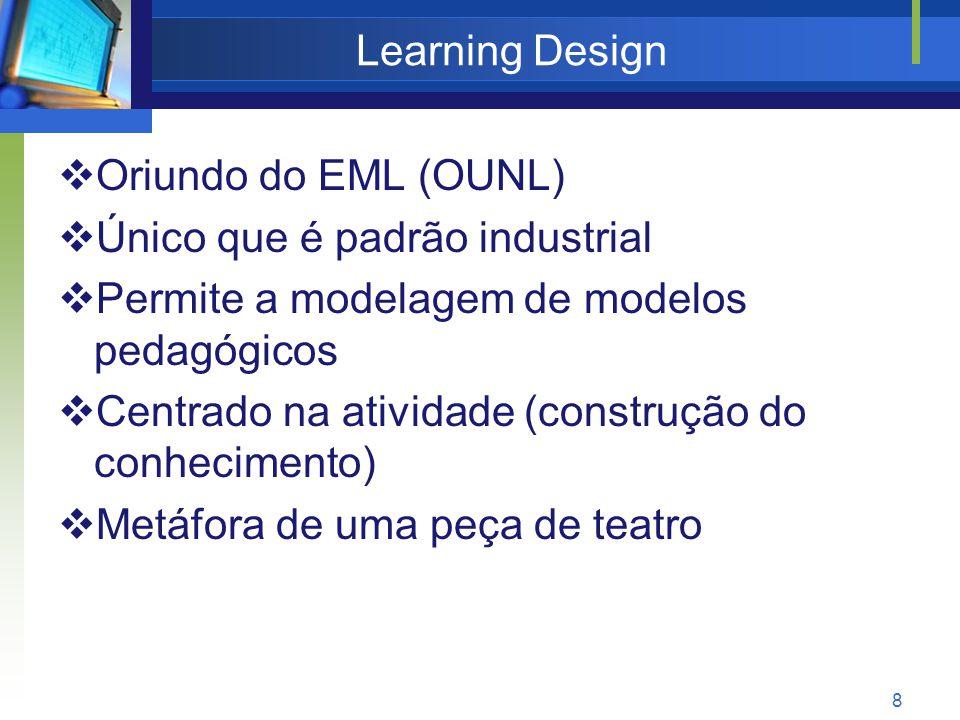 8 Learning Design  Oriundo do EML (OUNL)  Único que é padrão industrial  Permite a modelagem de modelos pedagógicos  Centrado na atividade (construção do conhecimento)  Metáfora de uma peça de teatro