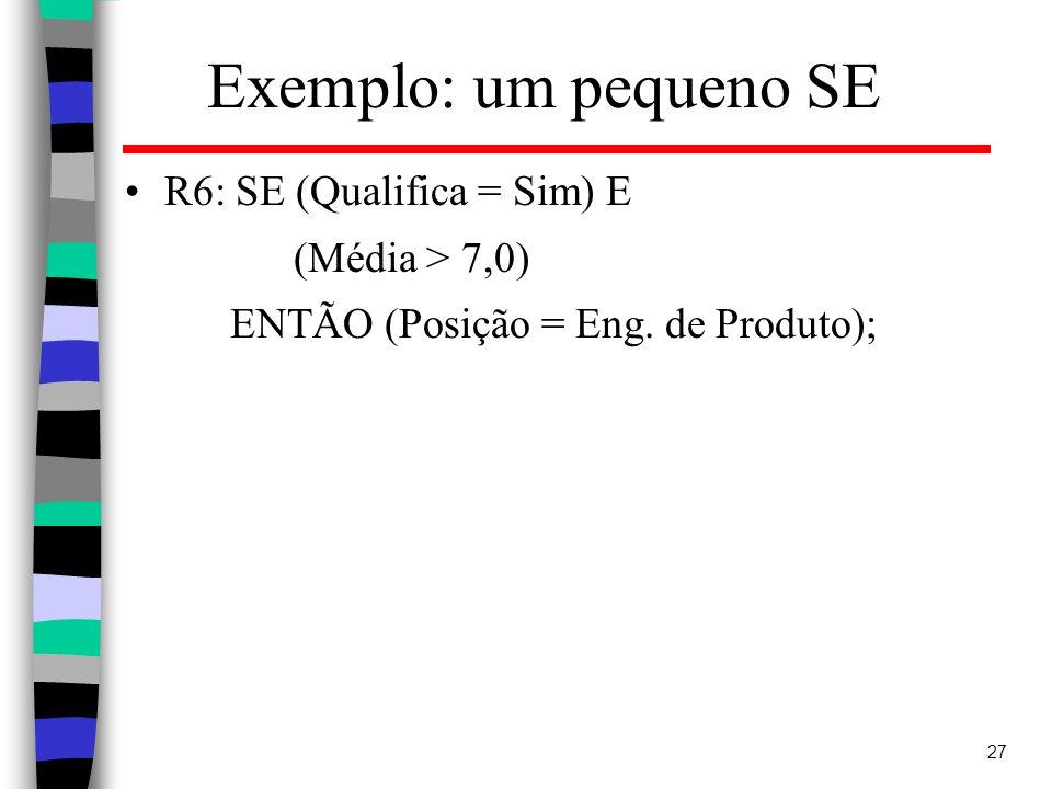 27 Exemplo: um pequeno SE R6: SE (Qualifica = Sim) E (Média > 7,0) ENTÃO (Posição = Eng.