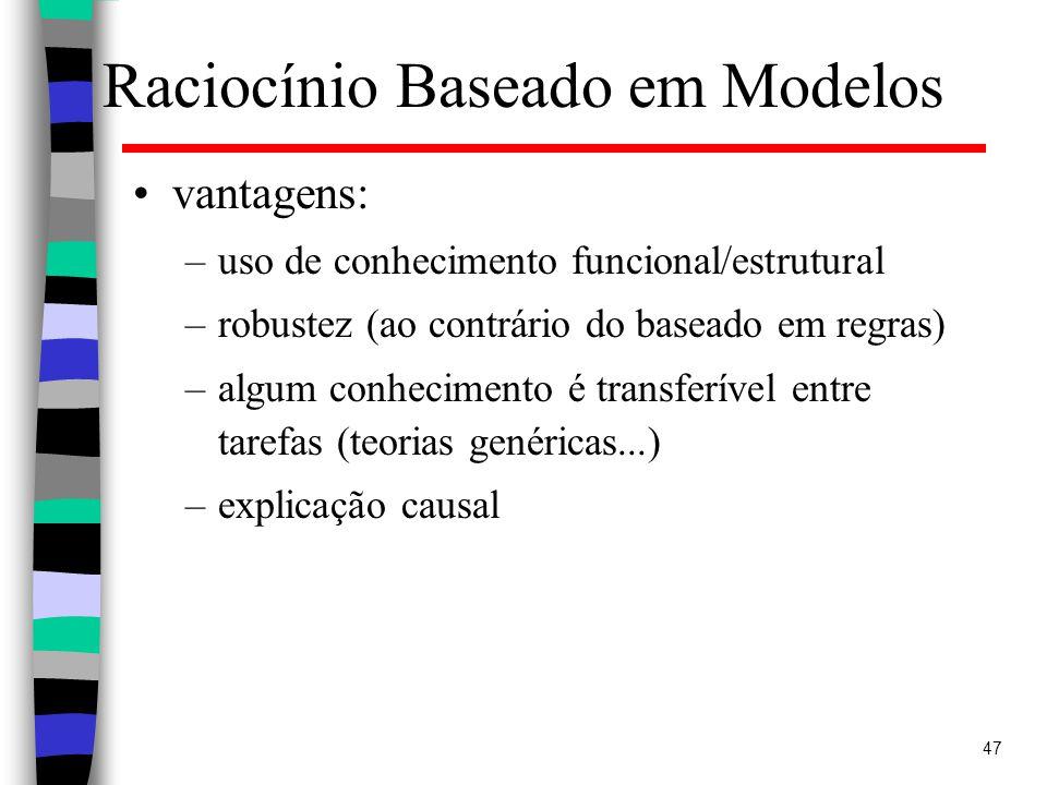 47 Raciocínio Baseado em Modelos vantagens: –uso de conhecimento funcional/estrutural –robustez (ao contrário do baseado em regras) –algum conhecimento é transferível entre tarefas (teorias genéricas...) –explicação causal