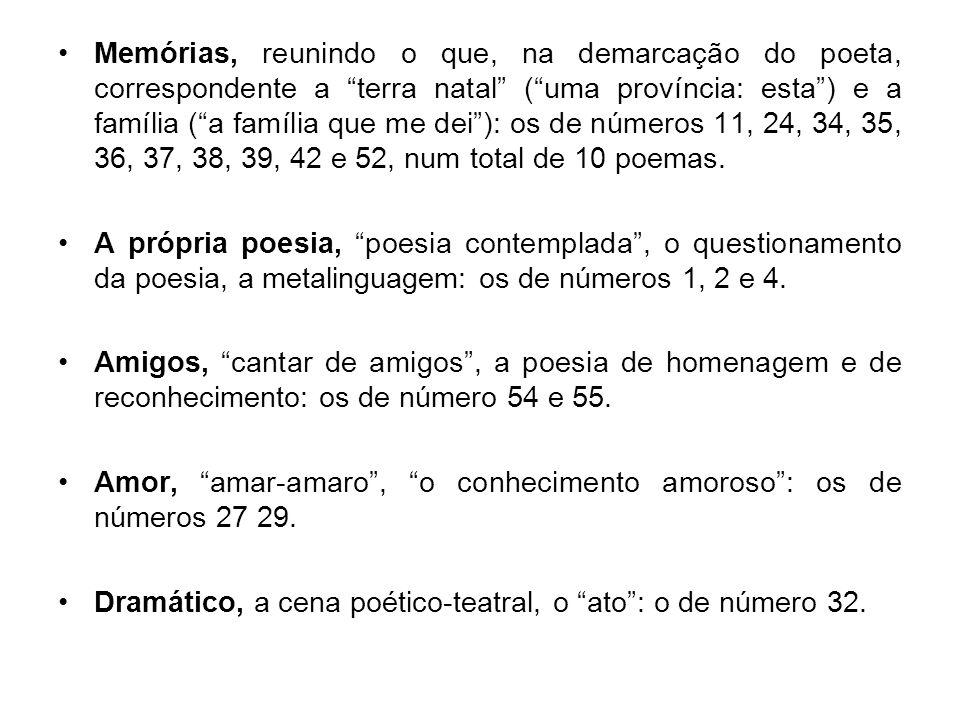 """Memórias, reunindo o que, na demarcação do poeta, correspondente a """"terra natal"""" (""""uma província: esta"""") e a família (""""a família que me dei""""): os de n"""