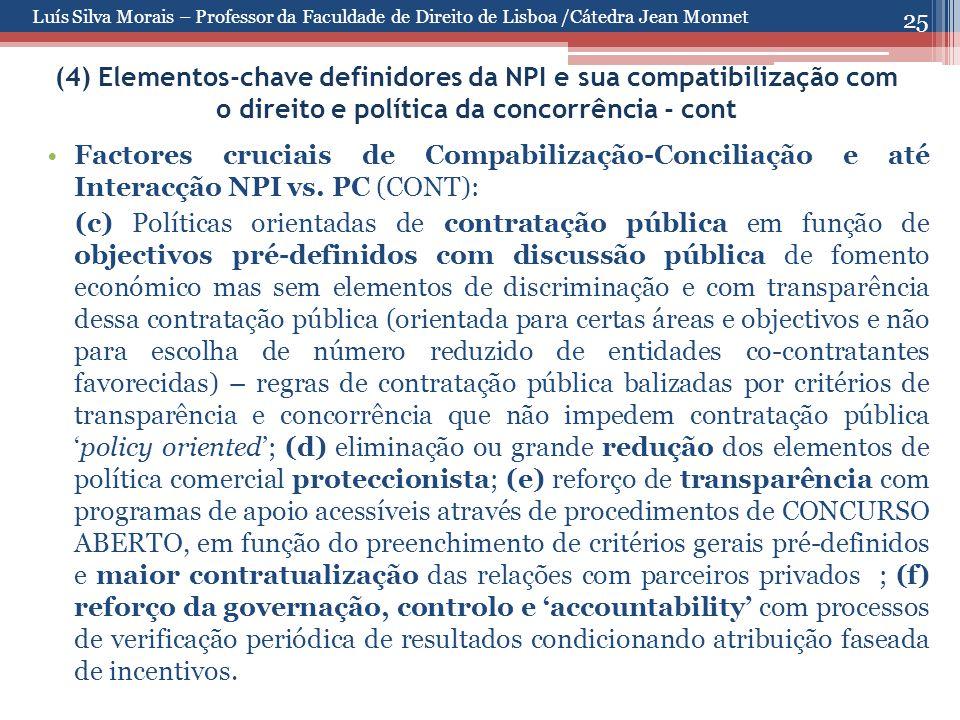 25 (4) Elementos-chave definidores da NPI e sua compatibilização com o direito e política da concorrência - cont Factores cruciais de Compabilização-Conciliação e até Interacção NPI vs.