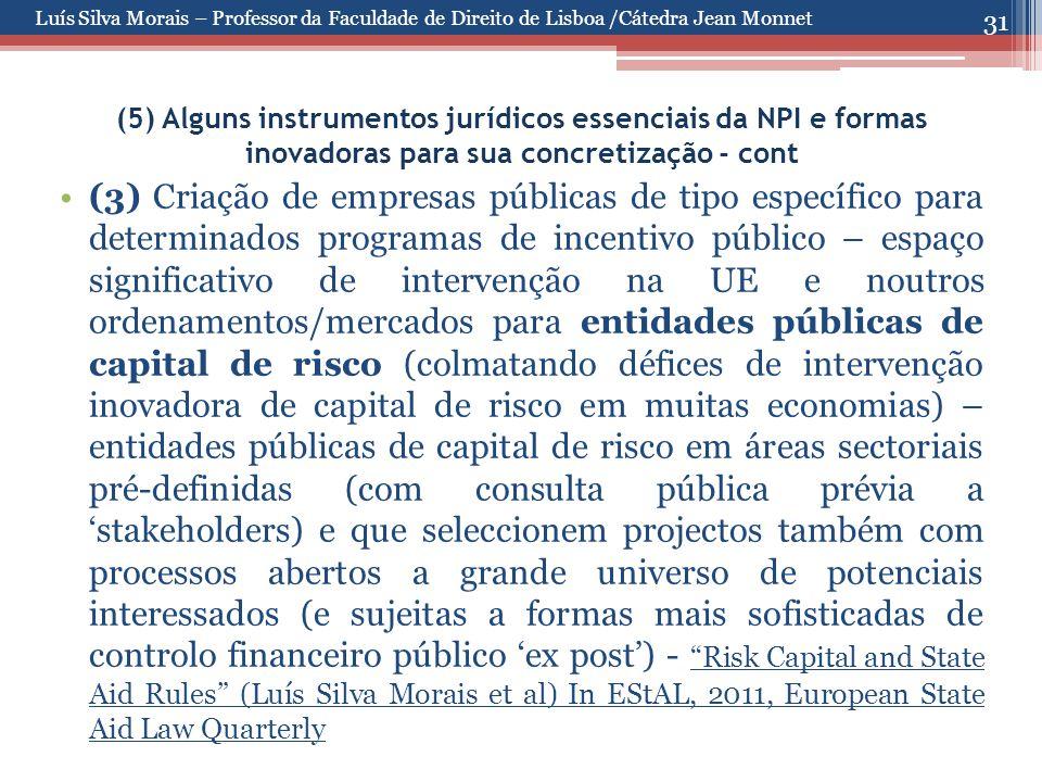 31 (5) Alguns instrumentos jurídicos essenciais da NPI e formas inovadoras para sua concretização - cont (3) Criação de empresas públicas de tipo espe
