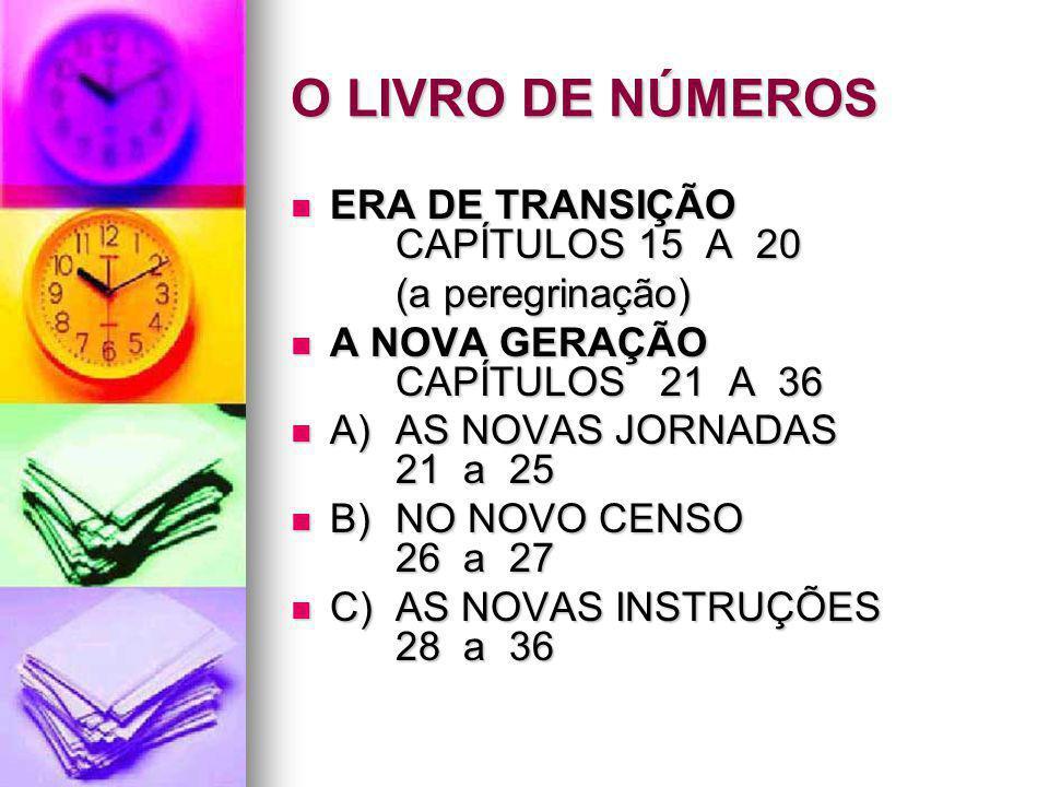 O LIVRO DE NÚMEROS ERA DE TRANSIÇÃO CAPÍTULOS 15 A 20 ERA DE TRANSIÇÃO CAPÍTULOS 15 A 20 (a peregrinação) A NOVA GERAÇÃO CAPÍTULOS 21 A 36 A NOVA GERA