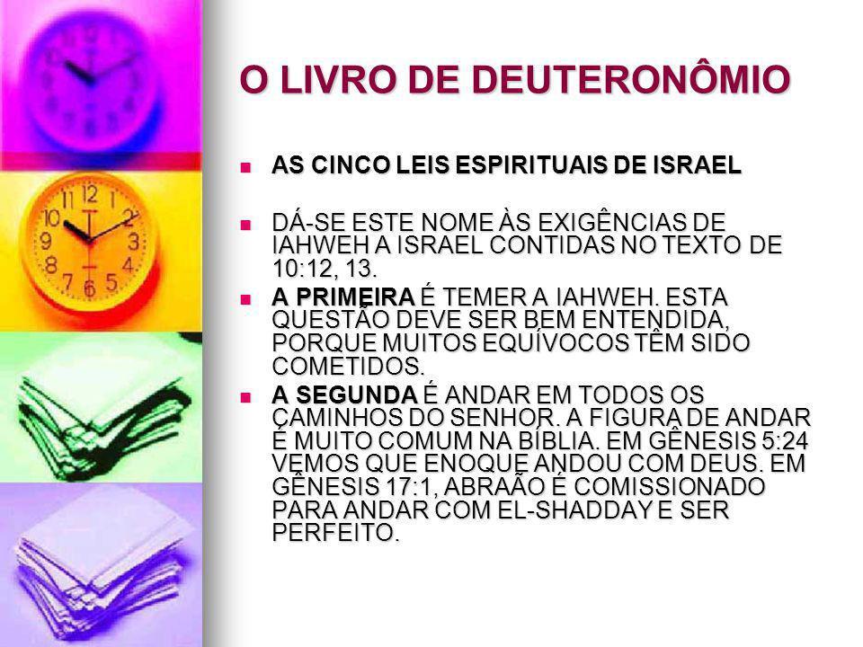 O LIVRO DE DEUTERONÔMIO AS CINCO LEIS ESPIRITUAIS DE ISRAEL AS CINCO LEIS ESPIRITUAIS DE ISRAEL DÁ-SE ESTE NOME ÀS EXIGÊNCIAS DE IAHWEH A ISRAEL CONTI