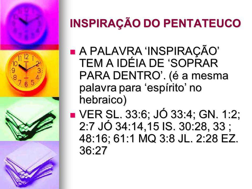 INSPIRAÇÃO DO PENTATEUCO A PALAVRA 'INSPIRAÇÃO' TEM A IDÉIA DE 'SOPRAR PARA DENTRO'. (é a mesma palavra para 'espírito' no hebraico) A PALAVRA 'INSPIR