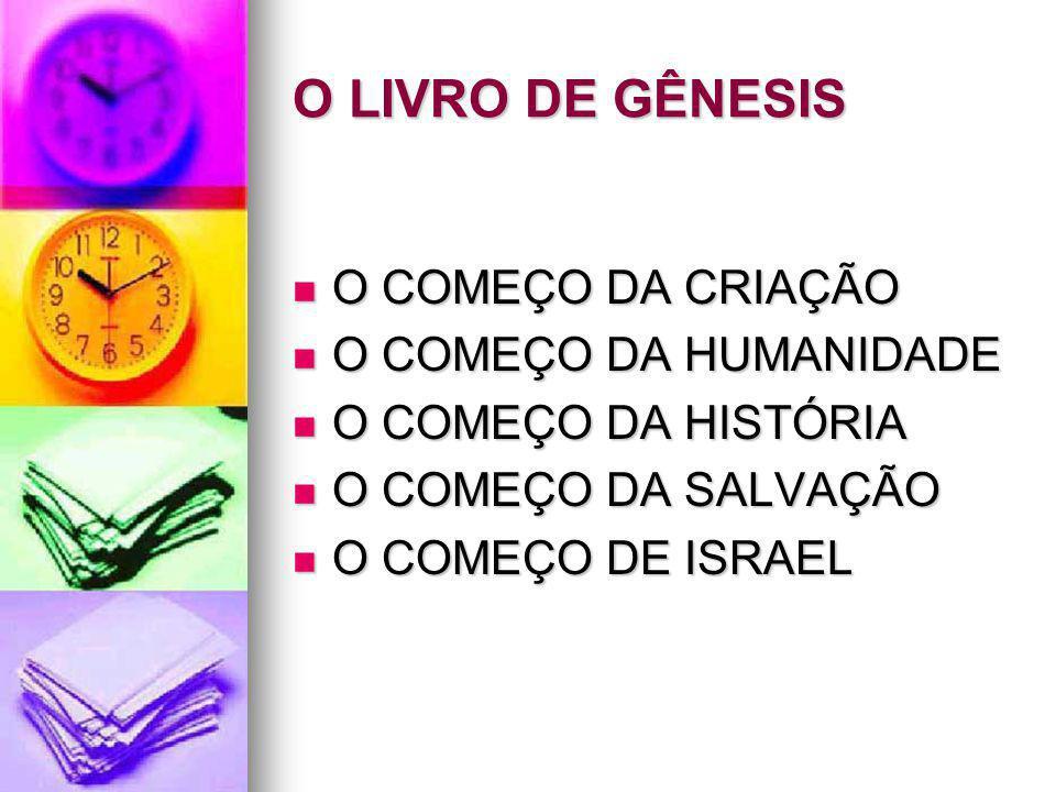 O LIVRO DE GÊNESIS O COMEÇO DA CRIAÇÃO O COMEÇO DA CRIAÇÃO O COMEÇO DA HUMANIDADE O COMEÇO DA HUMANIDADE O COMEÇO DA HISTÓRIA O COMEÇO DA HISTÓRIA O C