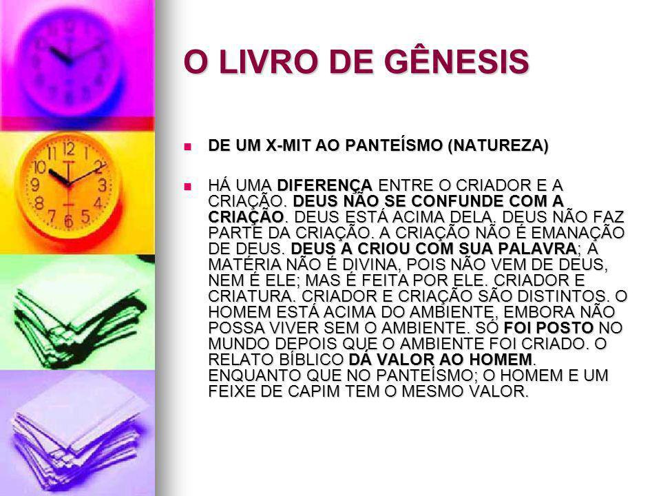O LIVRO DE GÊNESIS DE UM X-MIT AO PANTEÍSMO (NATUREZA) DE UM X-MIT AO PANTEÍSMO (NATUREZA) HÁ UMA DIFERENÇA ENTRE O CRIADOR E A CRIAÇÃO. DEUS NÃO SE C
