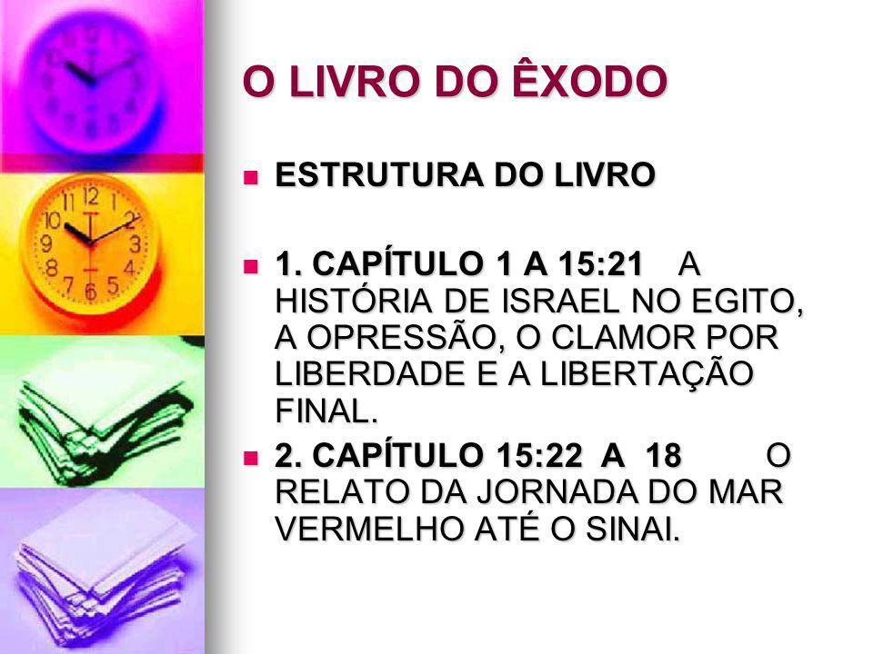 O LIVRO DO ÊXODO ESTRUTURA DO LIVRO ESTRUTURA DO LIVRO 1. CAPÍTULO 1 A 15:21A HISTÓRIA DE ISRAEL NO EGITO, A OPRESSÃO, O CLAMOR POR LIBERDADE E A LIBE