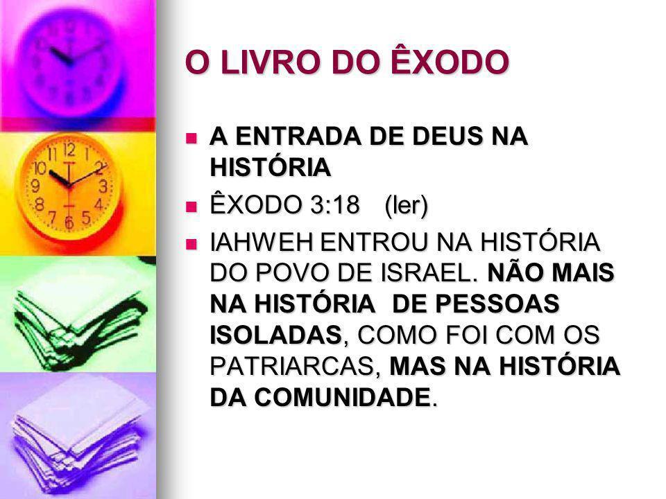 O LIVRO DO ÊXODO A ENTRADA DE DEUS NA HISTÓRIA A ENTRADA DE DEUS NA HISTÓRIA ÊXODO 3:18(ler) ÊXODO 3:18(ler) IAHWEH ENTROU NA HISTÓRIA DO POVO DE ISRA