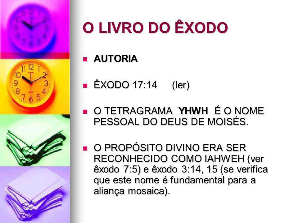 O LIVRO DO ÊXODO AUTORIA AUTORIA ÊXODO 17:14(ler) ÊXODO 17:14(ler) O TETRAGRAMA YHWH É O NOME PESSOAL DO DEUS DE MOISÉS. O TETRAGRAMA YHWH É O NOME PE