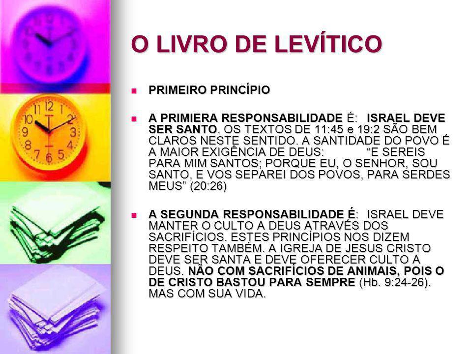 O LIVRO DE LEVÍTICO PRIMEIRO PRINCÍPIO PRIMEIRO PRINCÍPIO A PRIMIERA RESPONSABILIDADE É:ISRAEL DEVE SER SANTO. OS TEXTOS DE 11:45 e 19:2 SÃO BEM CLARO
