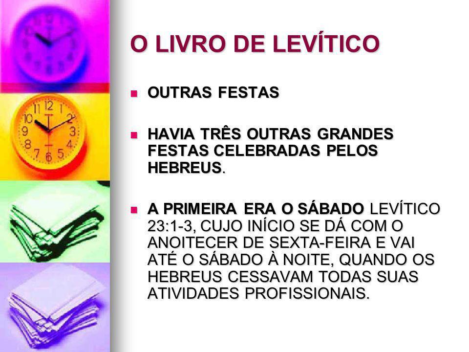 O LIVRO DE LEVÍTICO OUTRAS FESTAS OUTRAS FESTAS HAVIA TRÊS OUTRAS GRANDES FESTAS CELEBRADAS PELOS HEBREUS. HAVIA TRÊS OUTRAS GRANDES FESTAS CELEBRADAS