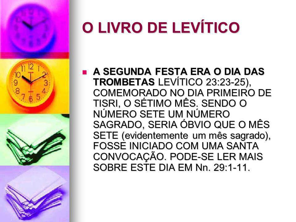 O LIVRO DE LEVÍTICO A SEGUNDA FESTA ERA O DIA DAS TROMBETAS LEVÍTICO 23:23-25), COMEMORADO NO DIA PRIMEIRO DE TISRI, O SÉTIMO MÊS. SENDO O NÚMERO SETE