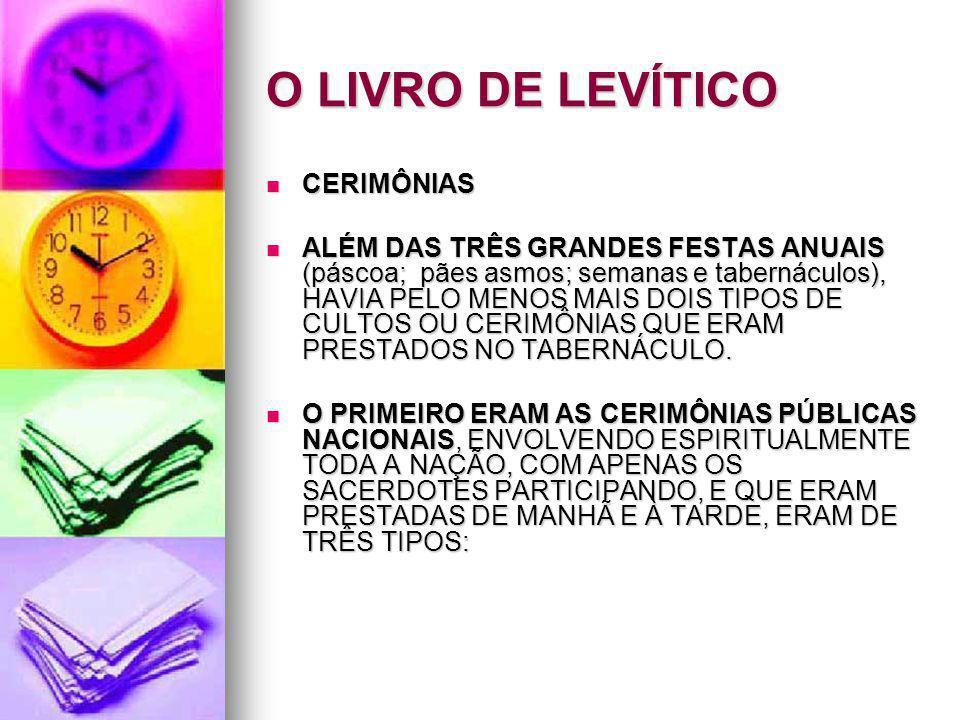 O LIVRO DE LEVÍTICO CERIMÔNIAS CERIMÔNIAS ALÉM DAS TRÊS GRANDES FESTAS ANUAIS (páscoa; pães asmos; semanas e tabernáculos), HAVIA PELO MENOS MAIS DOIS