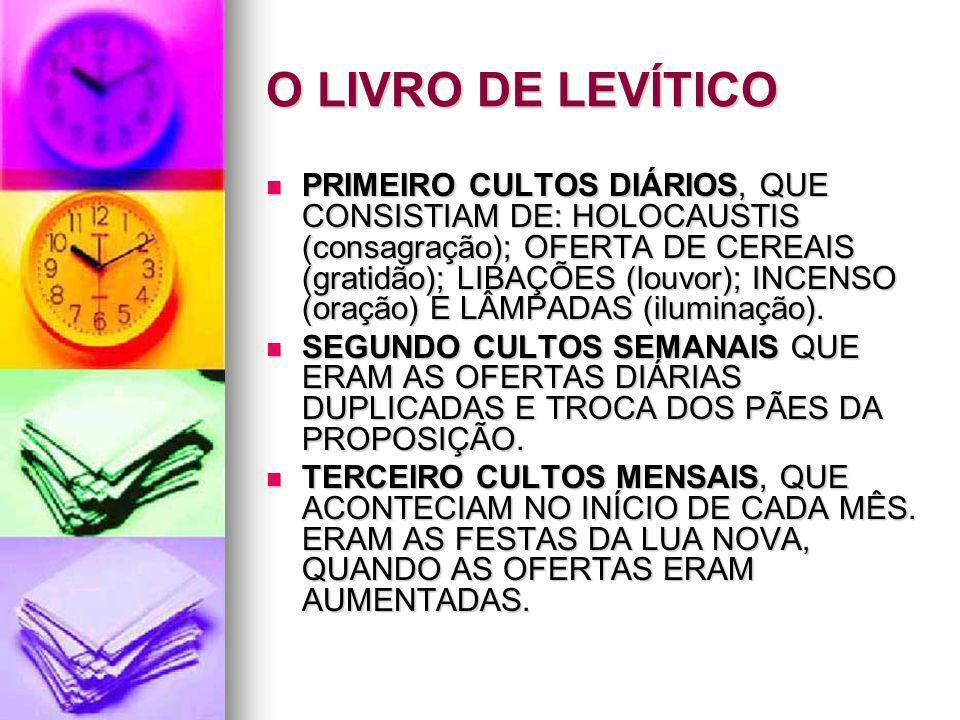O LIVRO DE LEVÍTICO PRIMEIRO CULTOS DIÁRIOS, QUE CONSISTIAM DE: HOLOCAUSTIS (consagração); OFERTA DE CEREAIS (gratidão); LIBAÇÕES (louvor); INCENSO (o