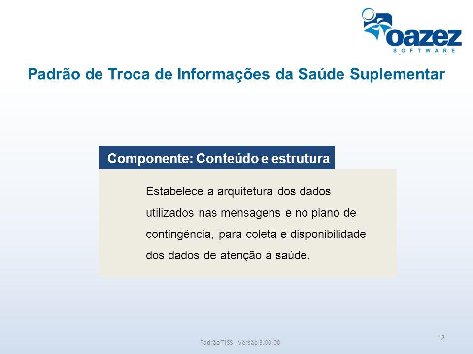 Padrão de Troca de Informações da Saúde Suplementar Padrão TISS - Versão 3.00.00 Componente: Conteúdo e estrutura Estabelece a arquitetura dos dados u