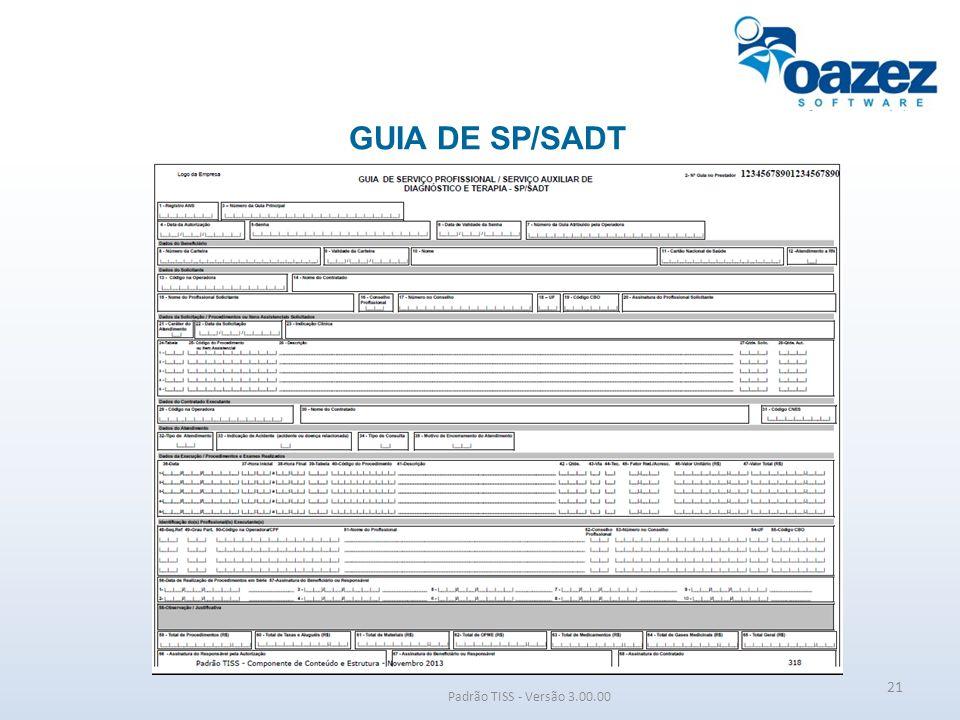 GUIA DE SP/SADT Padrão TISS - Versão 3.00.00 21