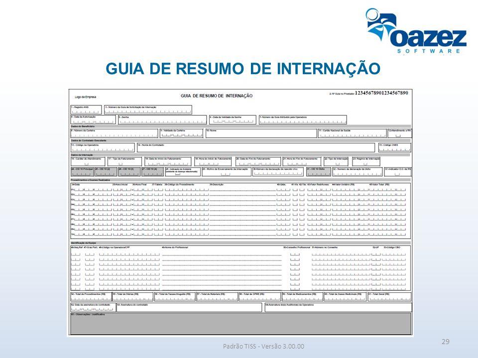 GUIA DE RESUMO DE INTERNAÇÃO Padrão TISS - Versão 3.00.00 29