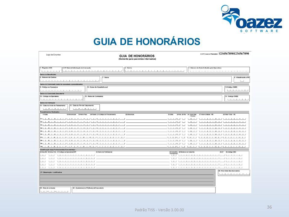 GUIA DE HONORÁRIOS Padrão TISS - Versão 3.00.00 36