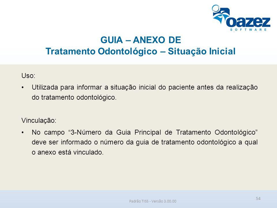 GUIA – ANEXO DE Tratamento Odontológico – Situação Inicial Padrão TISS - Versão 3.00.00 Uso: Utilizada para informar a situação inicial do paciente an
