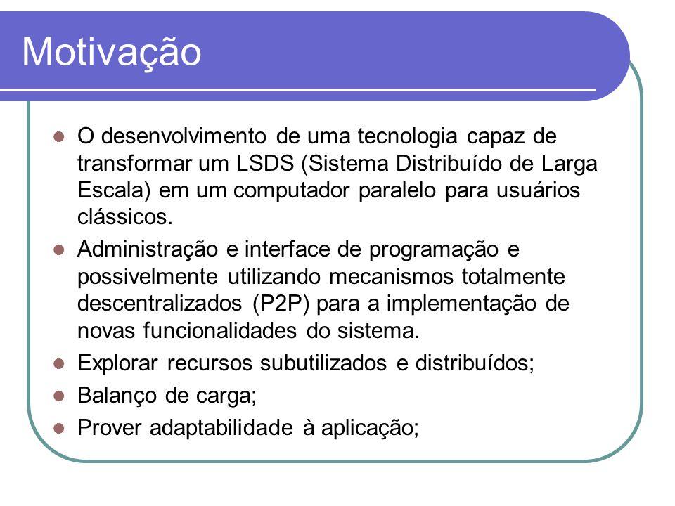 Motivação O desenvolvimento de uma tecnologia capaz de transformar um LSDS (Sistema Distribuído de Larga Escala) em um computador paralelo para usuários clássicos.