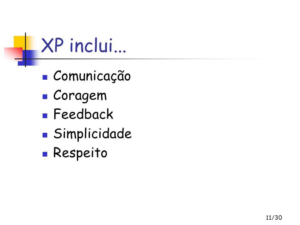 11/30 XP inclui... Comunicação Coragem Feedback Simplicidade Respeito