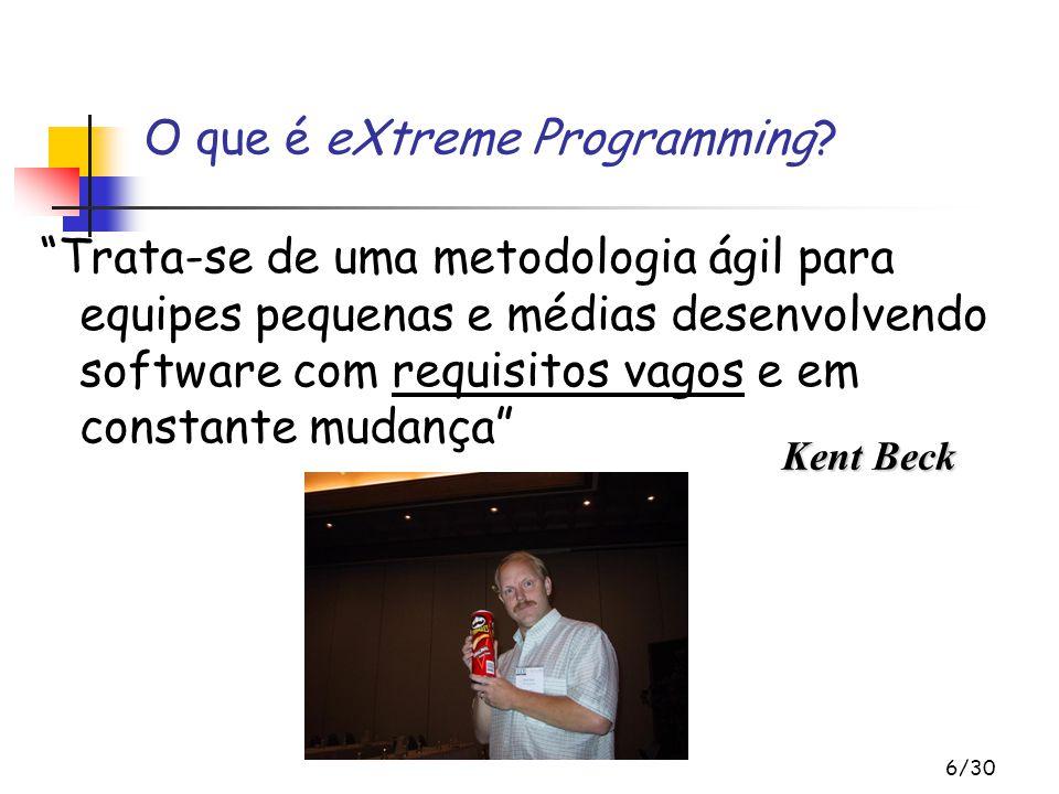 6/30 Trata-se de uma metodologia ágil para equipes pequenas e médias desenvolvendo software com requisitos vagos e em constante mudança O que é eXtreme Programming.