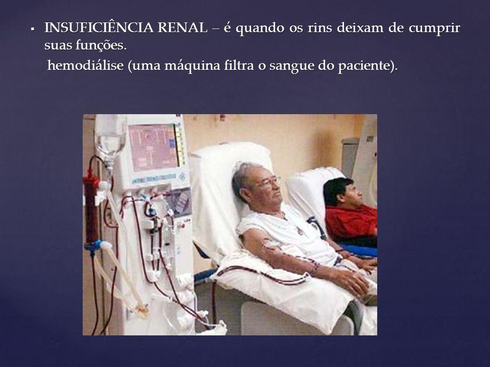  INSUFICIÊNCIA RENAL – é quando os rins deixam de cumprir suas funções. hemodiálise (uma máquina filtra o sangue do paciente). hemodiálise (uma máqui