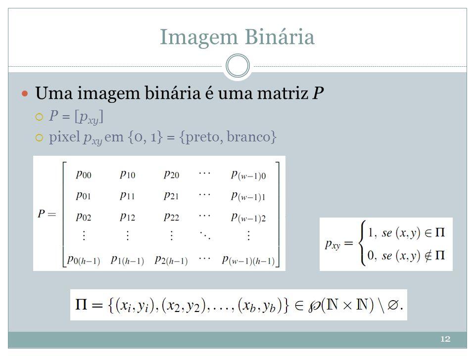 Imagem Binária 12 Uma imagem binária é uma matriz P  P = [p xy ]  pixel p xy em {0, 1} = {preto, branco}