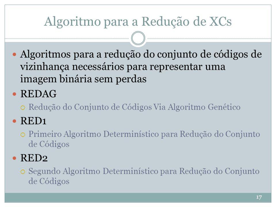 Algoritmo para a Redução de XCs 17 Algoritmos para a redução do conjunto de códigos de vizinhança necessários para representar uma imagem binária sem perdas REDAG  Redução do Conjunto de Códigos Via Algoritmo Genético RED1  Primeiro Algoritmo Determinístico para Redução do Conjunto de Códigos RED2  Segundo Algoritmo Determinístico para Redução do Conjunto de Códigos