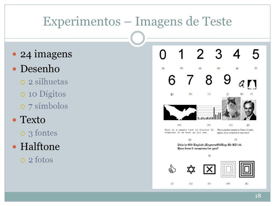 Experimentos – Imagens de Teste 18 24 imagens Desenho  2 silhuetas  10 Dígitos  7 símbolos Texto  3 fontes Halftone  2 fotos