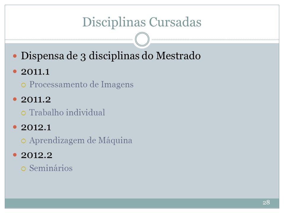 Disciplinas Cursadas 28 Dispensa de 3 disciplinas do Mestrado 2011.1  Processamento de Imagens 2011.2  Trabalho individual 2012.1  Aprendizagem de